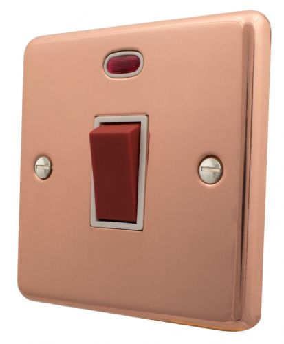 G&H CBC46W Standard Plate Bright Copper 45 Amp DP Cooker Switch & Neon Single Plate